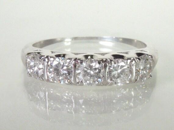 Vintage Diamond Wedding Ring - 0.95 Carats Diamonds - Appraisal Included