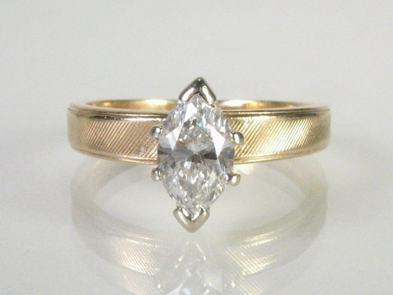 Vintage Marquise Cut Diamond Engagement Ring - 0.55 Carats
