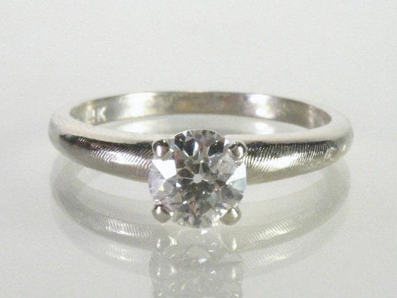 Vintage European Cut Diamond Engagement Ring - 0.54 Carat - Mid Century Solitaire Diamond Ring