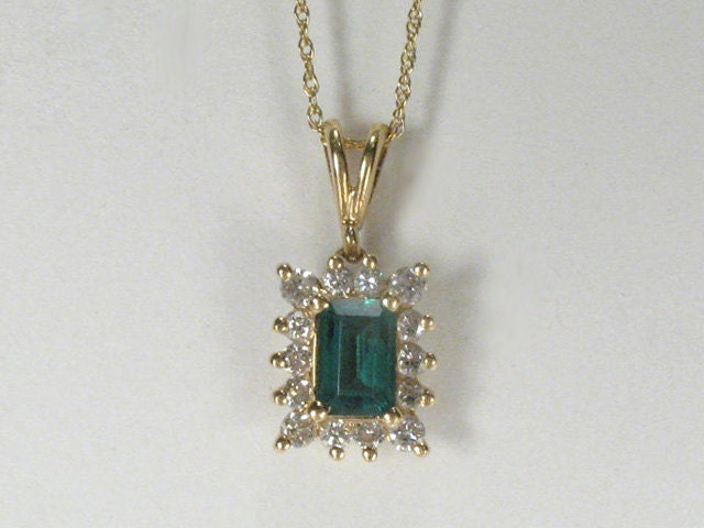 Diamond Gold Pendant With Synthetic Lab Created Emerald