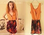 Sunset Rose Dress, button up upcycled dress, orange, purple