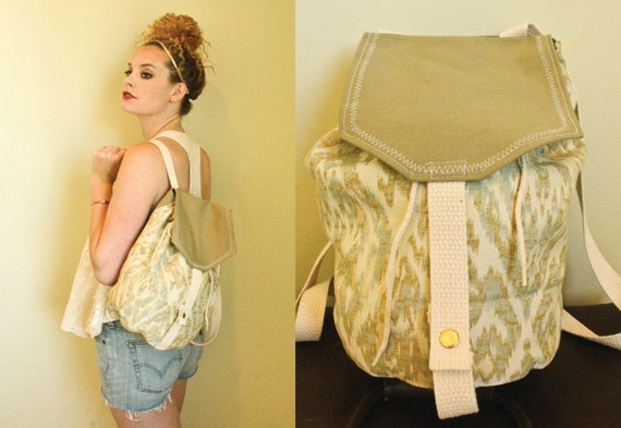 SALE Backpack, Water Serpent green, teal, and cream white canvas tote backpack