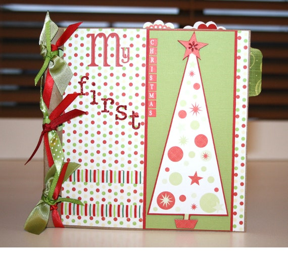 """RESERVED FOR NATALIE Paper Bag Album """"My First Christmas"""" premade photo pages"""