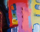 The Inside- Colorful original abstract oil painting with an edgy feel- 20x30
