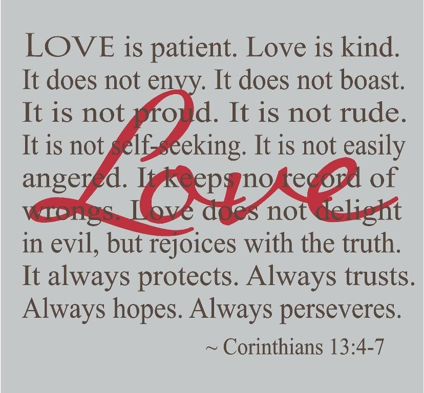 Corinthians Love Is Patient Decal Wedding Decorations Wall