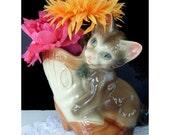 COWBOY Boot Planter / Vase * CAT On Western Boot * Cat Decor * Western Decor