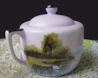 Sugar Bowl - SWAN And LAKE  Scene - Hand Painted NORITAKE