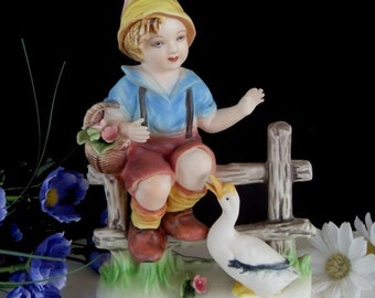 BOY and DUCK Figurine * Vintage Bavarian * Has Repair