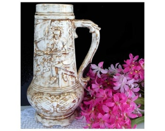 Vase with Handle * White and Gold * Vintage LOMA