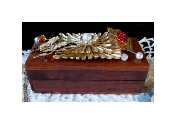 WOOD TRINKET BOX - Hand Decorated With Vintage Jewelry