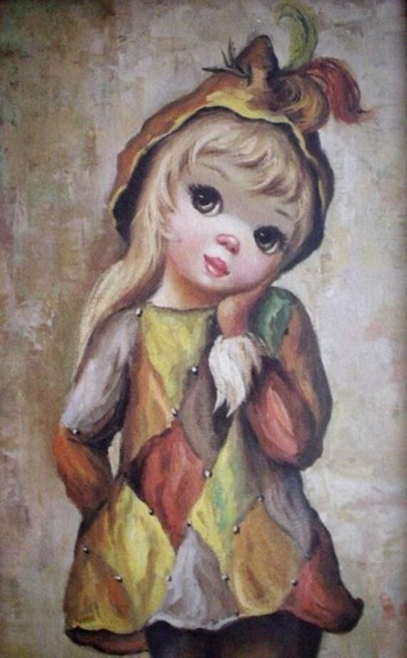 Maio Big Eye Harlequin Girl Print With Original Frame