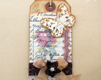 French Butterfly Art Tag Handmade OOAK