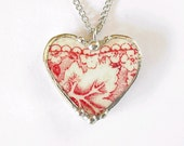 Broken china jewelry heart pendant necklace antique red toile transferware