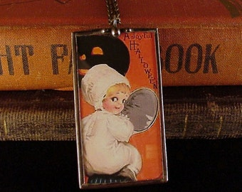 Vintage Halloween Postcard Pendant Necklace Reversable, little girl ghost, elves