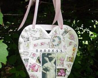 Goddess vintage image antique rose china broken china mosaic heart wall decor