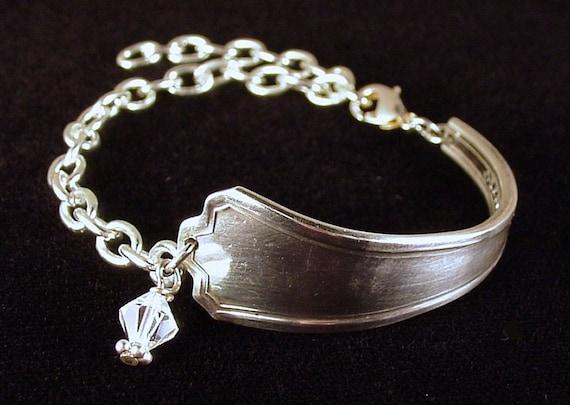 Edwardian Pattern Silver Spoon Bracelet with Austrian Crystal