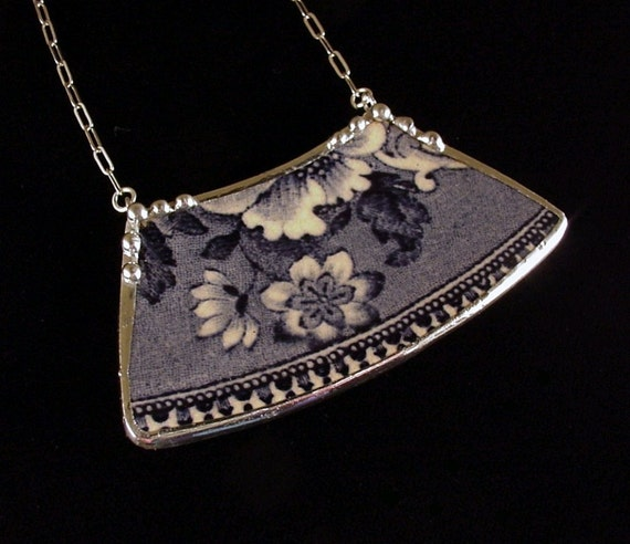 Broken china jewelry Antique Flow Blue Transferware Broken Plate Necklace