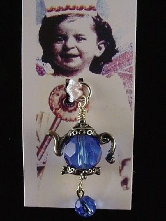 Sweet Teapot bead charm pendant blue faceted crystal bead
