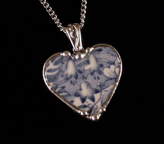 Broken china jewelry heart pendant necklace Bluebells blue toile transferware broken china