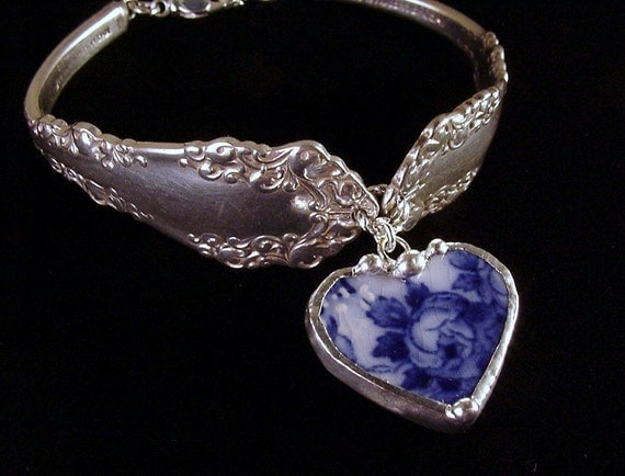 Antique Silver Spoon Bracelet With Broken China Jewelry Flow