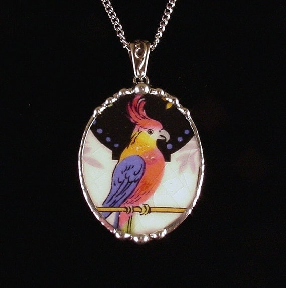 Broken china jewelry pendant necklace, oval, Art Deco parrot cockatoo colorful Vintage