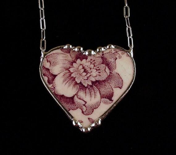 Antique purple plum toile English transferware broken china jewelry heart necklace