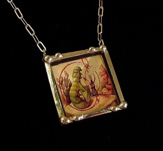 Hookah Smoking Caterpillar behind beveled glass vintage inspired art necklace