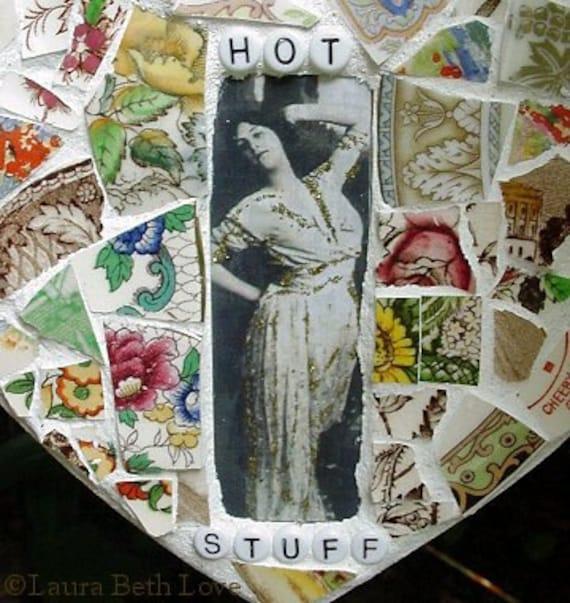 Hot Stuff antique rose china broken china mosaic heart wall decor