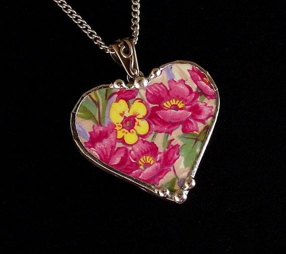 Broken China Jewelry Heart Pendant necklace vibrant poppies vintage English chintz china