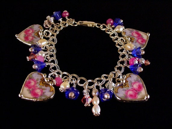 Broken China Jewelry Heart Charm Bracelet sterling with Pearls and crystals made from a broken plate