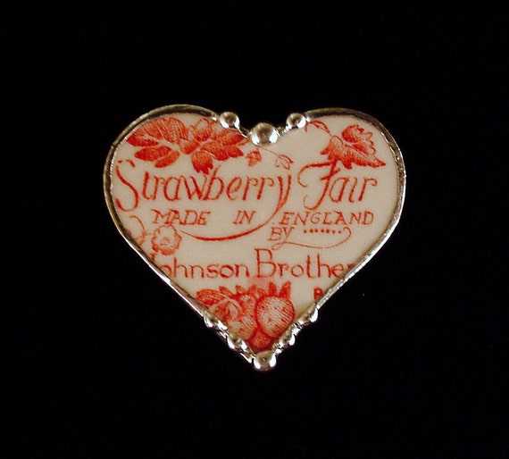 Broken China Jewelry heart shaped Pin Brooch red toile strawberry fair backstamp