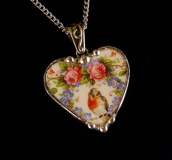 broken china jewelry heart pendant by dishfunctionldesigns on etsy