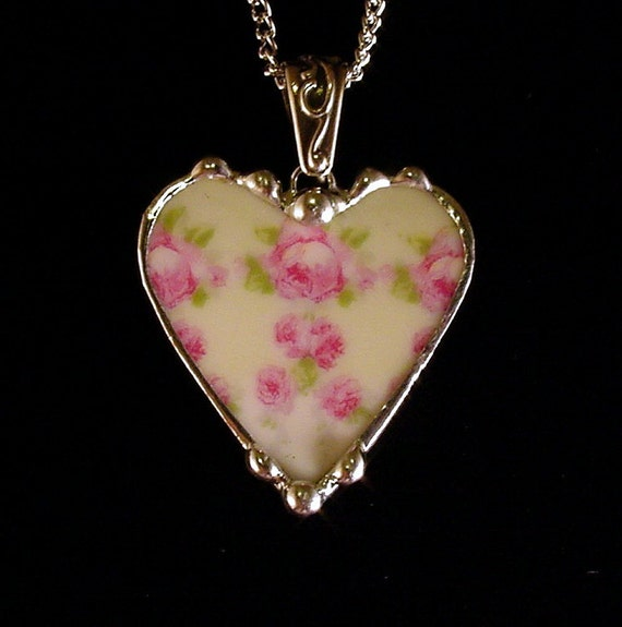 broken china jewelry pendant necklace pink roses on mint