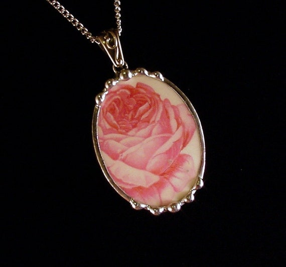 Broken china jewelry oval pendant necklace antique pink cabbage rose
