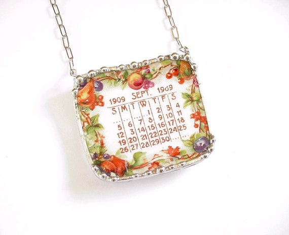 Broken China Jewelry necklace September 1909 antique calendar plate autumn birthday