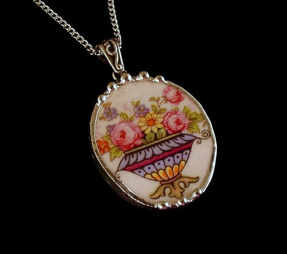 Broken china jewelry oval necklace pendant urn of roses and forget me nots antique china