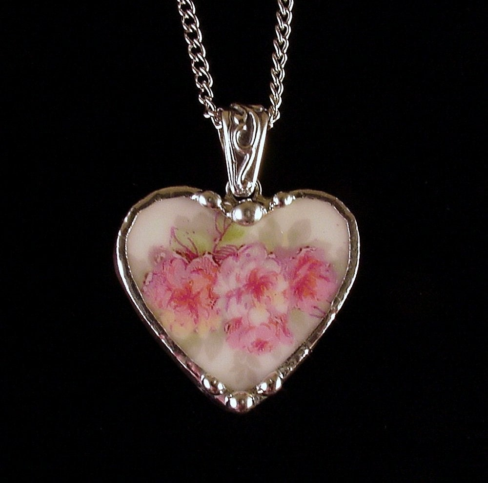 Antique French Porcelain Soft Pink Roses Broken China Jewelry
