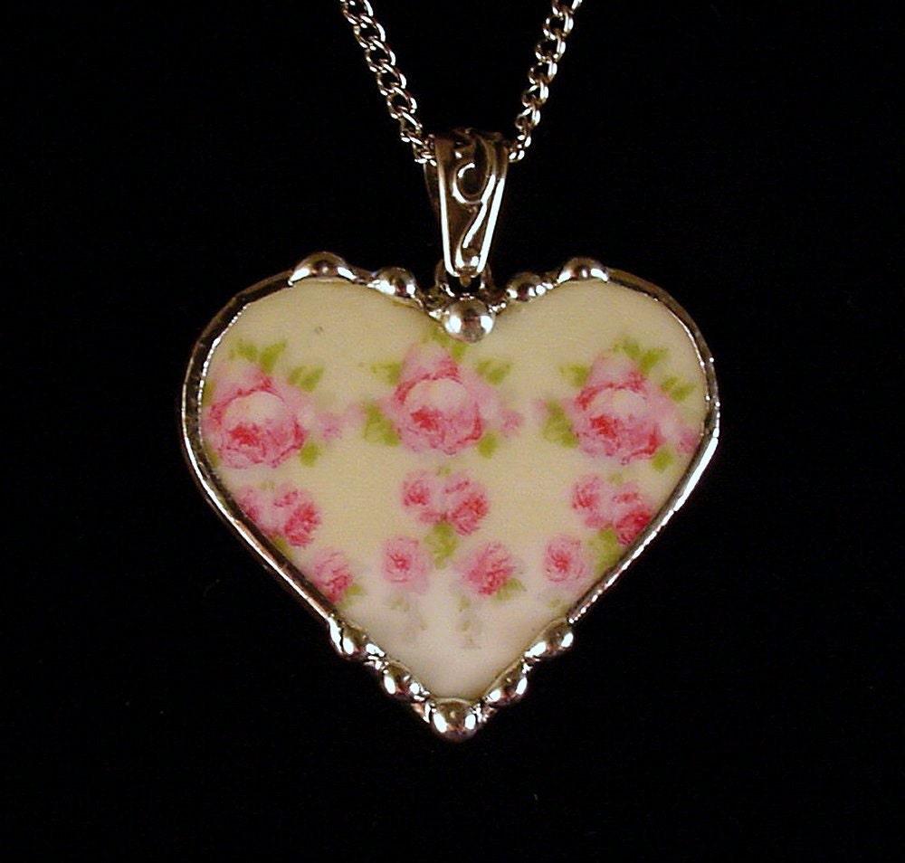 Broken China Jewelry Heart Pendant Necklace Antique German