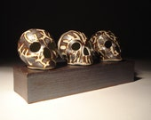 Three Metallic And Gloss White Patterned Skulls With Slab Built Stoneware Stand Sculpture