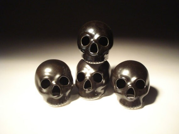 Semi Gloss Black Metallic Skull