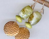 Textured Copper Earrings with Faceted Green Agate Stones - Earthy Organic Handmade Jewelry