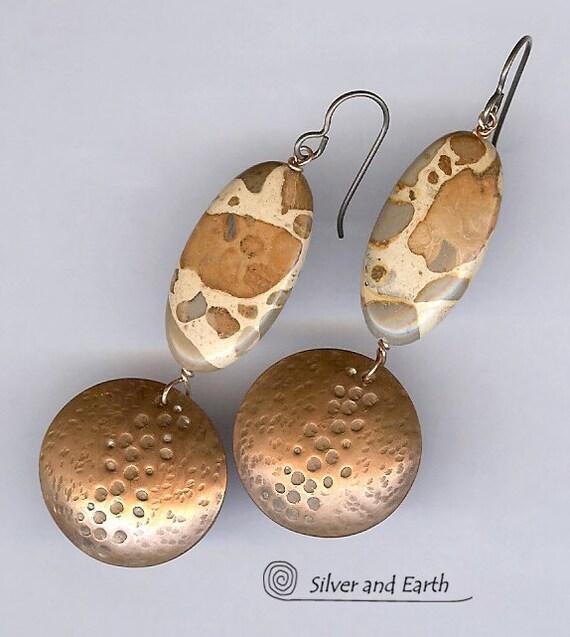 Leopard Skin Jasper Earrings with Hand Stamped Copper Discs