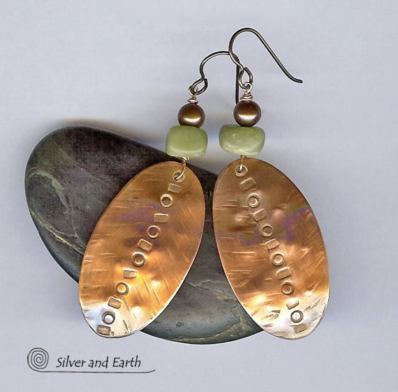 Hammered Copper Earrings with Bronze Pearls and Green Jade - Earthy Rustic Jewelry - Handmade Tribal Copper Jewelry