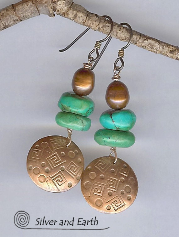 Copper Earrings with Turquoise & Copper Pearls, Earthy Handcrafted Tribal Jewelry, Beadwork Earrings, Copper and Turquoise Jewelry