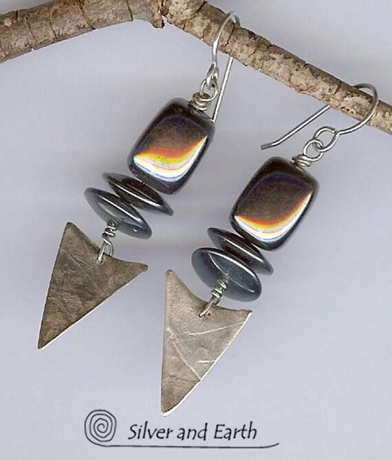 Handmade Sterling Silver Earrings with Glistening Hematite Stones - Artisan Metalwork Earrings - Gemstone Earrings - Earthy Stone Jewelry