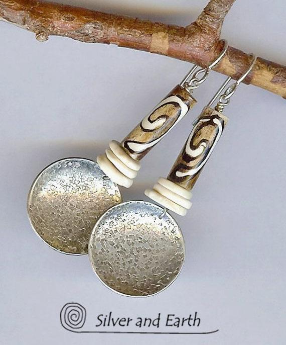SALE - Handmade Sterling Silver Earrings w- African Bone & Ostrich Egg Shell Beads - Tribal Jewelry - African Earrings - Sale Jewelry