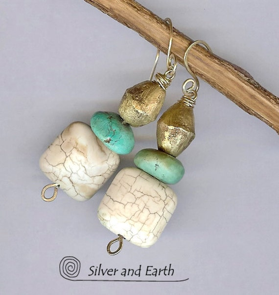 Tribal Earrings, Dangle Earrings with African Brass, Magnesite & Turquoise, Earthy Natural Stone Jewelry,  Boho Tribal Beadwork Earrings