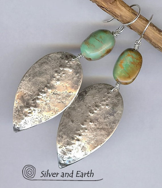 Turquoise Earrings -Turquoise Silver Earrings with Hammered Organic Texture - Oxidized Sterling Silver Earrings - Artisan Metalwork Jewelry