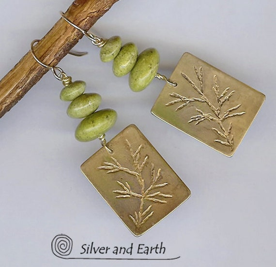 Nature Inspired Twig Jewelry - Handmade Brass Earrings with Hand Stamped Twig Pattern and Green Serpentine Stones - Spring Fashion Jewelry