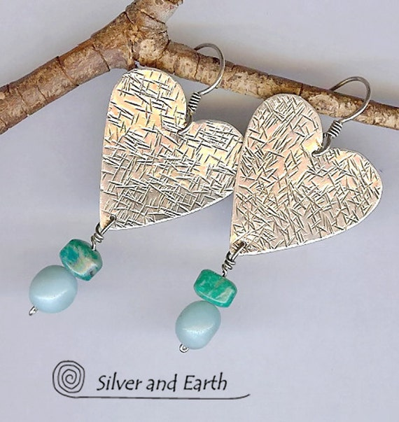 Handmade Sterling Silver Heart Earrings with Peruvian Opal,  Amazonite - Oxidized Silver Jewelry - Artisan Metalwork Jewelry